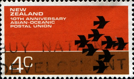NEW ZEALAND - CIRCA 1972  A stamp printed in  New Zealand honoring 10th Anniversary Asian-Oceanic Postal Union, circa 1972 photo