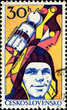 CZECHOSLOVAKIA - CIRCA 1977  A stamp printed in Czechoslovakia, shows Yuri Gagarin  1934-1968 , Soviet cosmonaut, first man in space, circa 1977  Stock Photo - 14147993