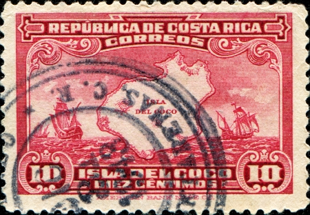 cocos: COSTA RICA - CIRCA 1936  A stamp prinyed in Costa Rica shows  Cocos Island and Fleet of Columbus, circa 1936