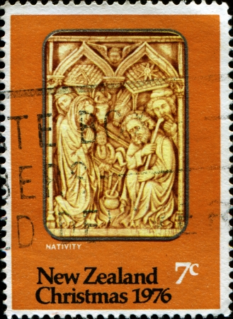 NEW ZEALAND - CIRCA 1976  A stamp printed in New Zealand shows nativity, circa 1975  photo
