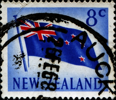 NEW ZEALAND - CIRCA 1967  A stamp printed in New Zealand shows New Zealand flag, circa 1967 photo
