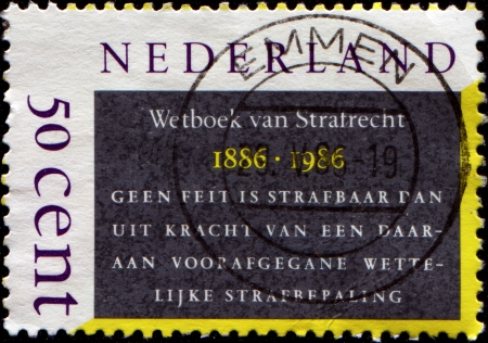 penal: NETHERLANDS - CIRCA 1986  A stamp printed in Netherlands honoring Centenary of Penal Code, Penal Code Extract, circa 1986