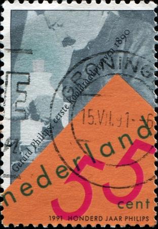 nv: NETHERLANDS - CIRCA 1991  A stamp printed in Netherlands shows Gerard Leonard Frederik Philips was a Dutch industrialist, cofounder and first CEO of NV Philips Gloeilampenfabrieken, circa 1991