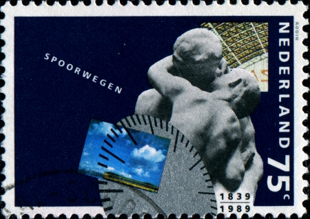 rodin: NETHERLANDS - CIRCA 1991  A stamp printed in Netherlands honoring  150th Anniv of Netherlands