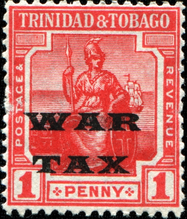 TRINIDAD AND TOBAGO - CIRCA 1917  A stamp printed in Trinidad and Tobago shows female figure - symbol of Britain, circa 1917 photo