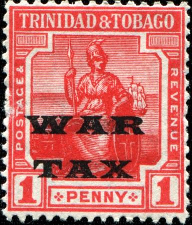 TRINIDAD AND TOBAGO - CIRCA 1917  A stamp printed in Trinidad and Tobago shows female figure - symbol of Britain, circa 1917 Stock Photo - 14150563