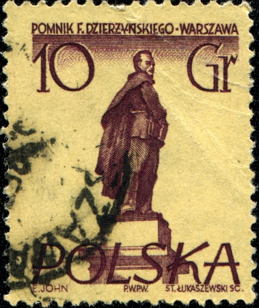 felix: POLAND - CIRCA 1957  A stamp printed in Poland shows monument of Felix Dzierzynsky - Warsaw, circa 1957 Editorial