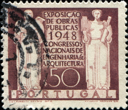 public works: PORTUGAL - CIRCA 1948  A stamp printed in Portugal shows emblem of Exhibition of Public Works and National Congress of Engineering and Architecture, circa 1948