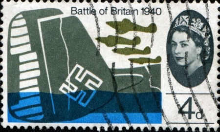 UNITED KINGDOM - CIRCA 1965  A stamp printed in the UK shows Hawker Hurricanes Mk 1 over wreck of Dornier DO-17Z bomber  in the Battle of Britain in WWII, circa 1965