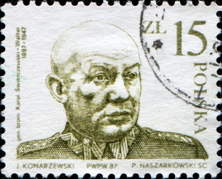 provisional: POLAND - CIRCA 1987  A stamp printed in Poland shows General Karol Swierczewski, He served as a general in the service of the Soviet Union, Republican Spain, and the Soviet sponsored Polish Provisional Government of National Unity after World War II