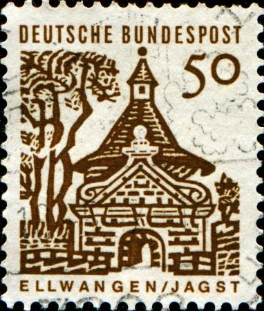 bundes: GERMANY - CIRCA 1964  A stamp printed in German Federal Republic shows Ellwangen, Jagst, circa 1964