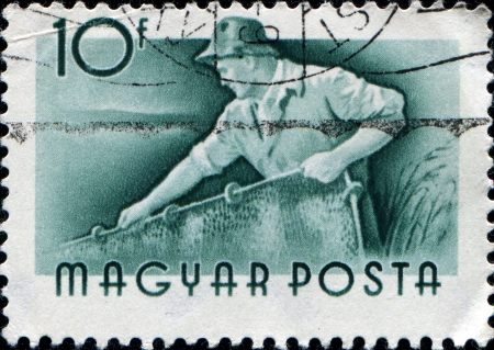HUNGARY - CIRCA 1955  A stamp printed in Hungary shows Fisherman pulls net, sirca 1955