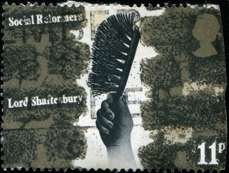 shaftesbury: UNITED KINGDOM - CIRCA 1976  A stamp printed in Great Britain honoring Social Reformers Chimney cleaning  Lord Shaftesbury , circa 1976  Stock Photo