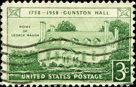 USA - CIRCA 1958  A stamp printed in USA shows Home of George Mason, Gunston Hall Issue, circa 1958  photo