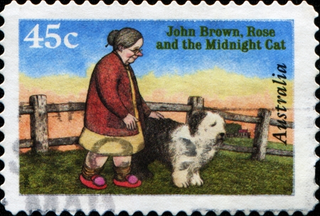 jenny: AUSTRALIA - CIRCA 1996  A stamp printed in Australia shows John Brown, Rose and the Midnight Cat, circa 1996