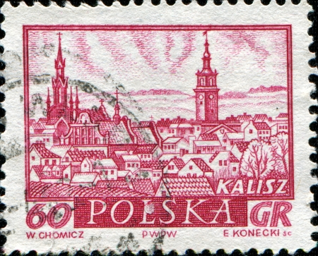 POLAND - CIRCA 1986  A stamp printed in Poland shows the View of Kalisz, circa 1986 Stock Photo - 14184713