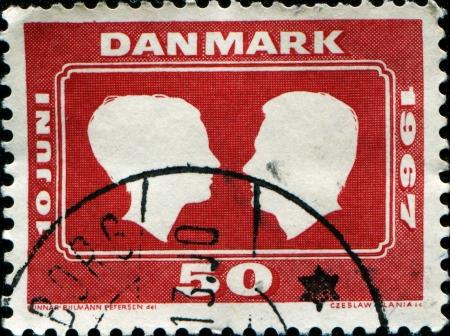 prince of denmark: DENMARK - CIRCA 1960  A stamp printed by Denmark honoring Royal Wedding, Princess Margrethe and Prince Henri de Monpezat, circa 1960