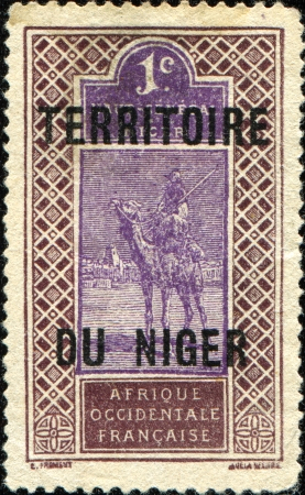 camel post: FRAMCE - CIRCA 1914  A stamp printed in France special for Upper Senegal and Niger shows Touareg, circa 1914