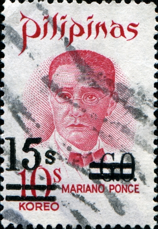 mariano: PHILIPPINES - CIRCA 1970  A stamp printed in the Philippines shows image of Mariano Ponce, the physician, series, circa 1970  Editorial