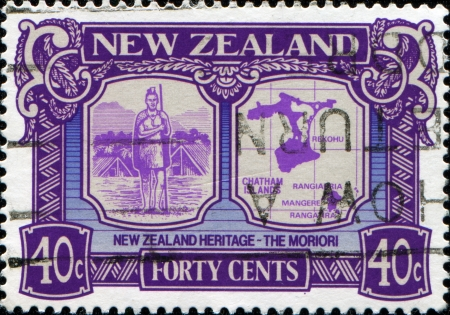 NEW ZEALAND - CIRCA 1989  A stamp printed in New Zealand honoring New Zealand Heritage, the Moriori, circa 1989 photo