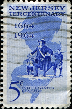 UNITED STATES - CIRCA 1964  A stamp printed in United states honoring New Jersey Tercentenary, circa 1964  Stock Photo - 14175139