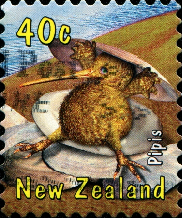aotearoa: NEW ZEALAND - CIRCA 2000  A stamp printed in  New Zealand shows Pipis - Pavlova, puha, paua and the small but resilient pipi make up part of the gastronomic mythology of Aotearoa, circa 2000  Stock Photo