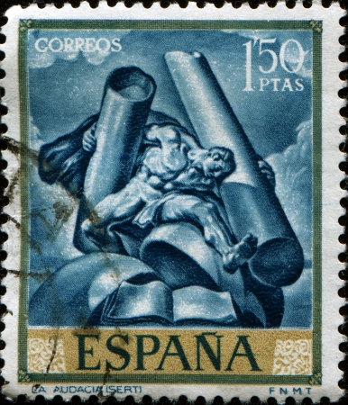SPAIN - CIRCA 1966  A stamp printed in Spain shows paint by Jose Maria Sert - Audacity, circ 1966