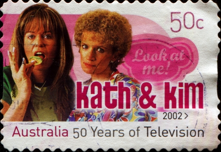 AUSTRALIA - CIRCA 2002  A stamp printed in Australia dedicated to to 50 years of Australian television, shows Kath   Kim, circa 2002