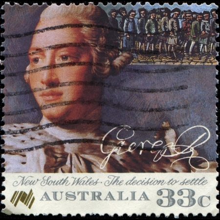 AUSTRALIA - CIRCA 1986  A stamp honoring Bicentenary  1988  of Australian Settlement, shows Convict Settlement in New South Wales, King George III,  A  Ramsay  and Convicts