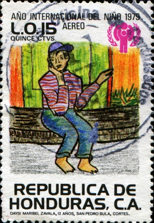 HONDURAS - CIRCA 1980  A stamp printed in Honduras honoring International Year of the Child  1979 , shows United Nation photo
