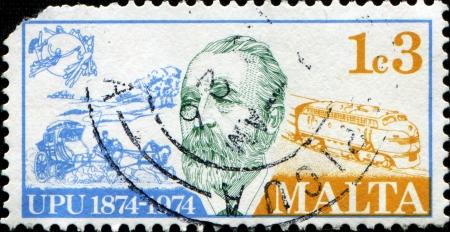 upu: MALTA - CIRCA 1974  A stamp printed in Malta honoring Centenary of Universal Postal Union, shows Heinrich von Stephan  founder  and Land Transport, circa 1974