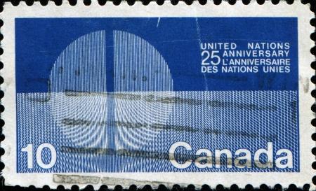 un used: CANADA - CIRCA 1970  A stamp printed in Canada honoiring 25th Anniversary of United Nations, circa 1970