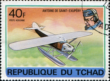 CHAD - CIRCA 1978  A stamp printed in Republic of Chad shows Antoine de Saint-Exupery, series devoted history of aviation, circa 1978  Stock Photo - 14200673