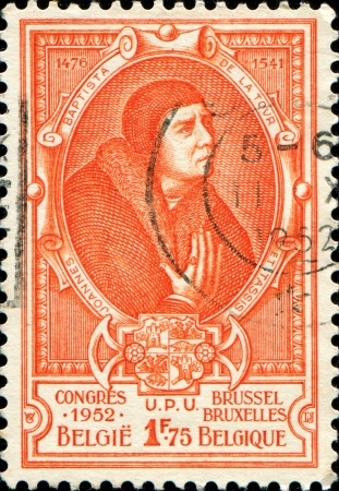 BELGIUM - CIRCA 1952  A stamp printed in Belgium shows Jean Baptiste Leschenault de la Tour - French botanist and ornithologist, circa 1952