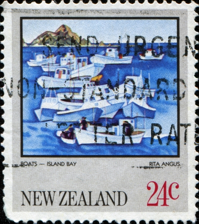 postal stamp: NEW ZEALAND - CIRCA 1983  A stamp printed in New Zealand shows Boats, Island Bay by Rita Angus, circa 1983 Stock Photo