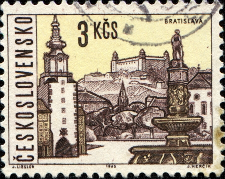 CZECHOSLOVAKIA - CIRCA 1965  A stamp printed in Czechoslovakia shows  Bratislava, the capital of Slovakia, circa 1965  Stock Photo - 14198634