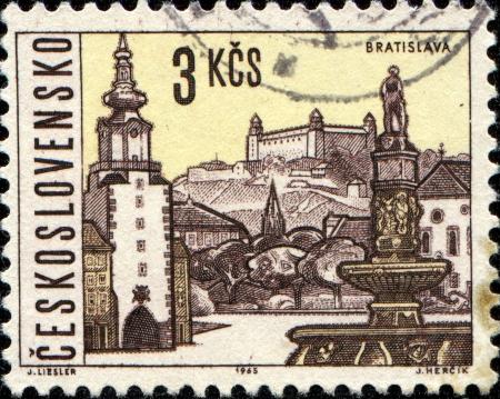 CZECHOSLOVAKIA - CIRCA 1965  A stamp printed in Czechoslovakia shows  Bratislava, the capital of Slovakia, circa 1965  photo