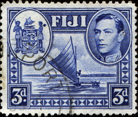 FIJI - CIRCA 1938   A stamp printed in Fiji shows catamaran, circa 1938