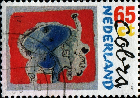 founding: NETHERLANDS - CIRCA 1988  A stamp printed in the Netherlands honoring 40th Anniversary of Founding of Cobra Painters Group, shows Kite, circa 1988 Stock Photo