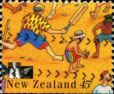 NEW ZEALAND - CIRCA 1995  A stamp printed in  New Zealand shows People Playing Beach Cricket, circa 1995  Stock Photo - 14199138