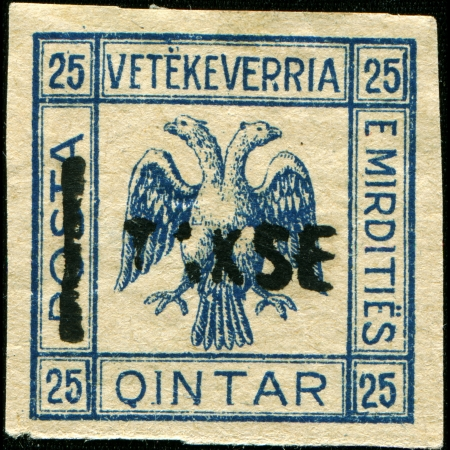 declared: ALBANIA - CIRCA 1914  A stamp printed in Albania shows double eagle, overprint made in 1921 in Republic of Mirdita - short-lived unrecognized republic declared in northern Albania by Marka Gjoni