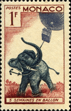MONACO - CIRCA 1955  A stamp printed in Monaco shows Elephant holding a balloon, circa 1955