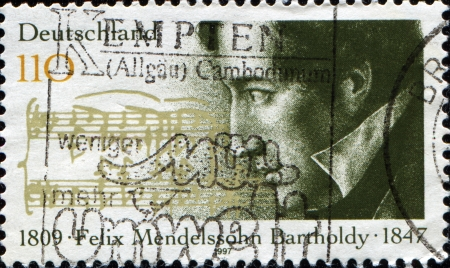 felix: GERMANY - CIRCA 1997  A stamp printed in the German Federal Republic shows Felix Mendelson Bartholdy composer, circa 1997