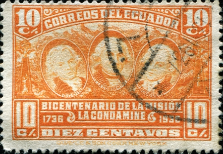 ECUADOR - CIRCA 1936  A stamp printed in Ecuador honoring Bicentenary of La Condamine Scientific Expedition, shows Godin, La Condamine, Bouger, circa 1936