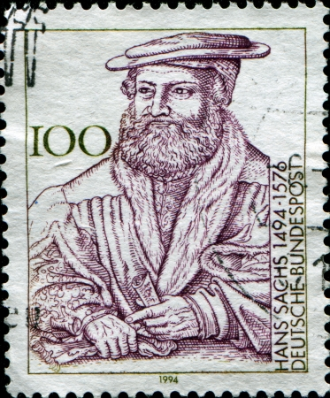 GERMANY - CIRCA 1994  A stamp printed in the Germany, dedicated to the 500th anniversary of the birth Hans Sachs, circa 1994  Stock Photo - 14200669