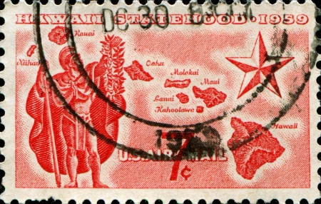 statehood: UNITED STATES - CIRCA 1959  A stamp printed in the United States shows Alii Warrior, Map of Hawaii and Star of Statehood, circa 1959
