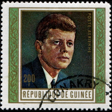 GUINEA - CIRCA 1969  A stamp printed in Guinea shows John F  Kennedy, 35th President of USA 1961-1963, circa 1969