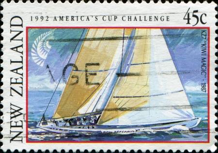 postal stamp: NEW ZEALAND - CIRCA 1992  A stamp printed in New Zealand shows yacht KZ7 Kiwi Magic, America