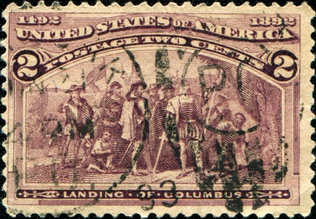 USA - CIRCA 1893  A Stamp printed in USA honoring of Landing of Columbus, circa 1893