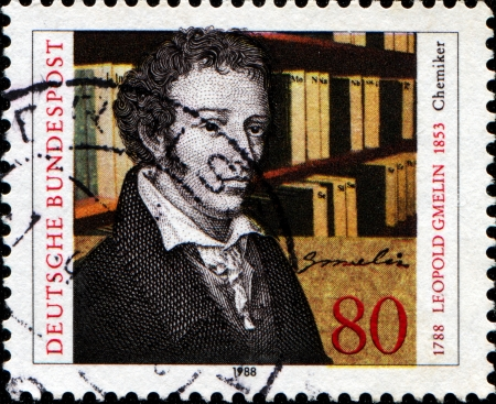 GERMANY - CIRCA 1988  A stamp printed in Germany, dedicated to the 200th anniversary of the birth Leopold Gmelin, circa 1988  Stock Photo - 14200665